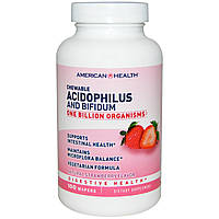 American Health, Acidophilus and Bifidum, Chewable, Natural Strawberry Flavor, 100 Wafers