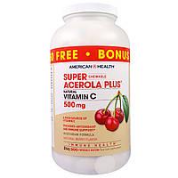 American Health, Пищевая добавка «Супер жевательная ацерола плюс», со вкусом натуральных ягод, 500 мг, 300 жев