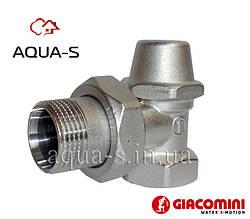 """Клапан отсекающий Giacomini DN 1"""" угловой настроечный для радиатора R14X035 (Италия)"""