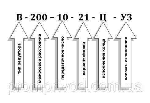 Схема условных обозначений редуктора В-200-10