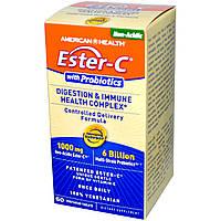 American Health, Витаминный комплекс Эстер-C с пробиотиками для улучшения пищеварения и иммунного здоровья, 60