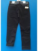 Черные брюки для мальчиков с поясом утепленные 8-11 лет