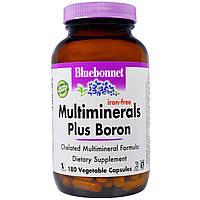 Bluebonnet Nutrition, Мультиминералы с добавлением бора, без содержания железа, 180 капсул в растительной обол