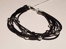 Срібний браслет з каучуком. Артикул 910037С 20