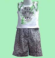 Костюм летний для девочки - Майка белая и шорты в леопардовый принт