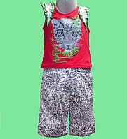 Костюм летний для девочки - Майка красная и шорты в леопардовый принт