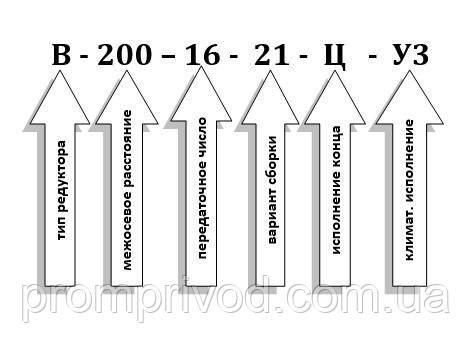 Схема условных обозначений редуктора В-200-16