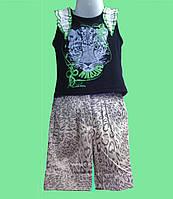 Костюм летний для девочки - Майка черная и шорты в леопардовый принт
