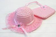Шляпа и сумка детская в розовом цвете