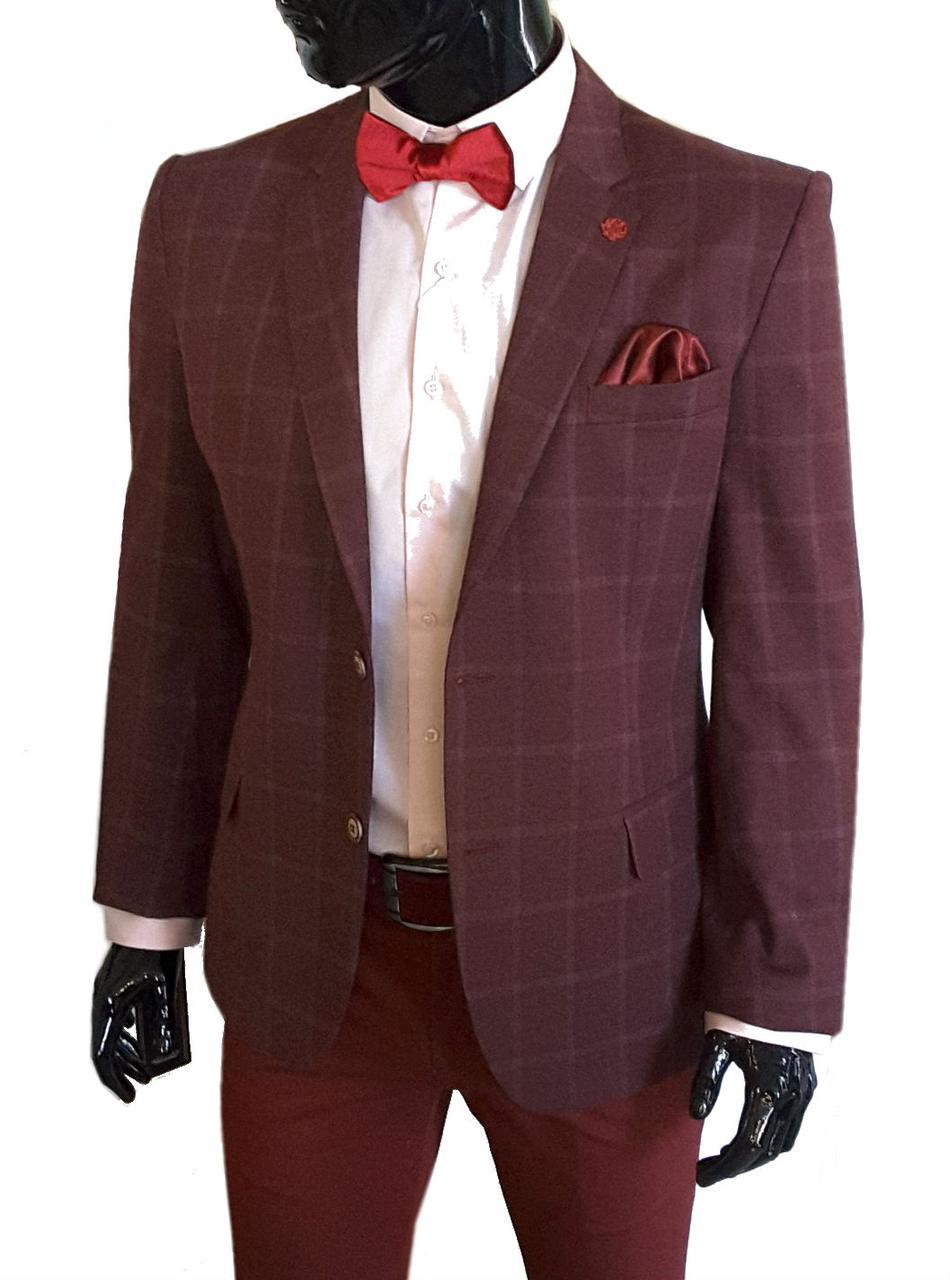 Мужской пиджак бордовый в клетку1161799