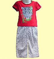 Костюм летний для девочки - Футболка красная и брюки в леопардовый принт, р.98см
