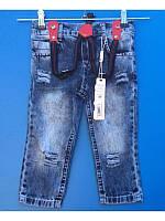 Летние джинсы рваные с подтяжками для мальчика 1-3 года