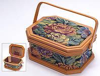Скринька для рукоділля без секцій 27.3*20.8*13 cм Шкатулка для рукоделия
