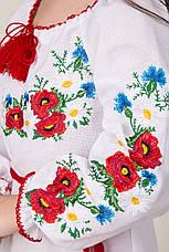 Детское вышитое платье на белом полотне, фото 2