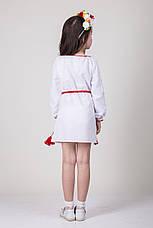 Детское вышитое платье на белом полотне, фото 3