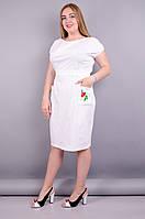 Алиса. Практичное платье больших размеров.Белый.