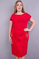 Алиса. Практичное платье больших размеров. Красный.