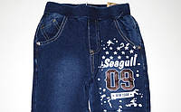 Брюки джинсовые спортивные для мальчиком на манжете 122-164