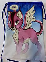 Рюкзак мешок  для сменной обуви для девочек котик 7