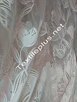 Тюль печать белые тюльпаны