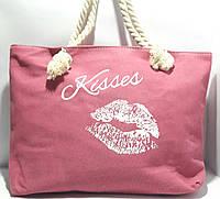 Сумка текстильная летняя для пляжа и прогулок розовая