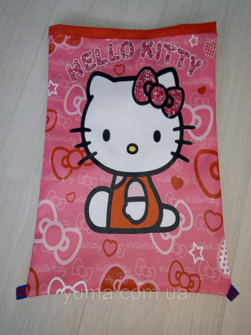 Рюкзак для сменной обуви на шнурках девочкам с рисунком  Хелло китти  9