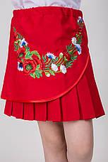 Вышитая детская юбка красного цвета, фото 2