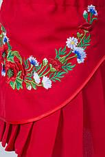 Вышитая детская юбка красного цвета, фото 3