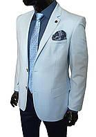 Мужской пиджак приталенный голубой в клетку № 75/2- 1509764 гол., фото 1