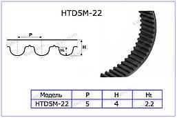 Зубчатый ремень  HTD 225-5M, длина по окружности 225мм, ширина 22мм, фото 3