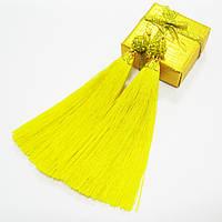 Серьги-кисти желтые, шелковые,  [12 см]