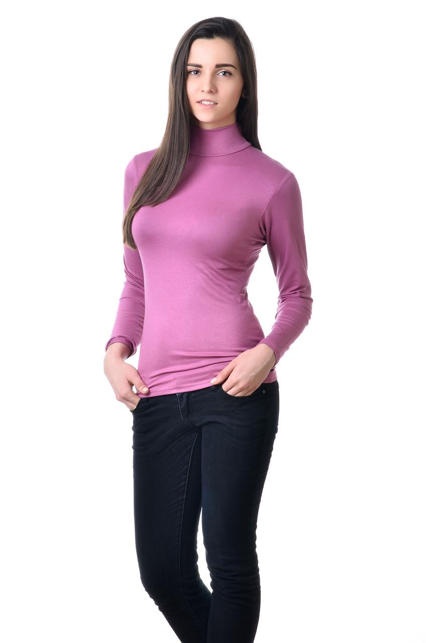 Элегантная женская водолазка из качественного материала лиловая
