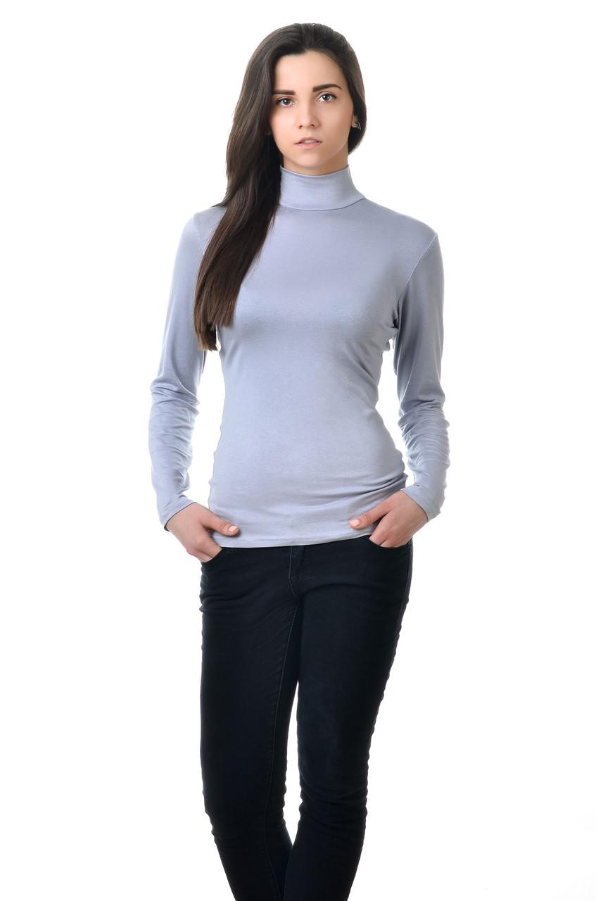 Элегантная женская водолазка из качественного материала светло-серый