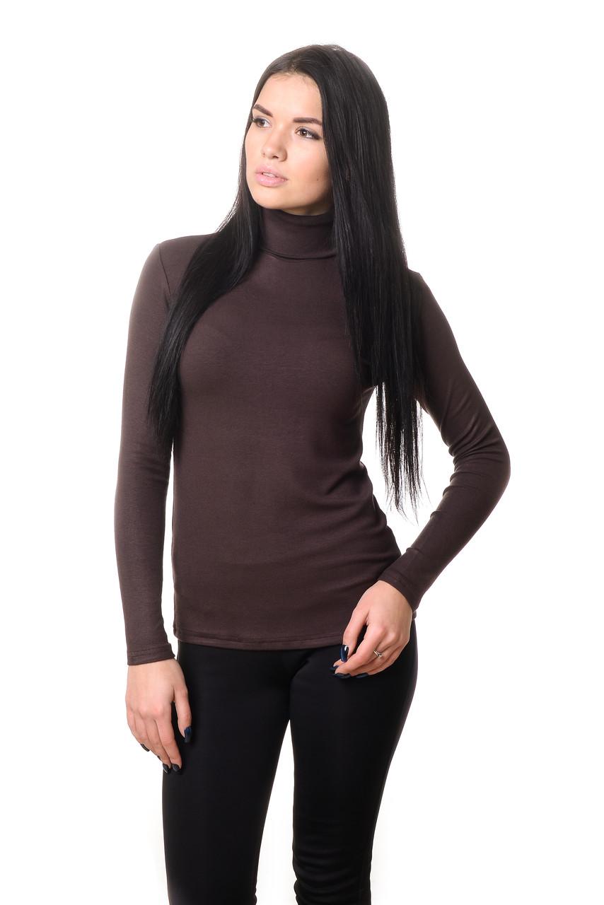 Привлекательная женская водолазка из качественного плотного материала коричневая