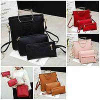 Женская сумка большая с ручками в наборе клатч и кошелек Cat