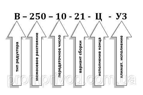 Схема условных обозначений редуктора В-250-10