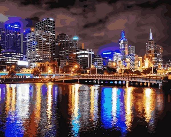 Рисование по номерам 40×50 см. Ночной Мельбурн Австралия