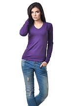 Удобная женская футболка с длинным рукавом на манжете фиолетовая