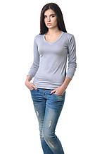 Удобная женская футболка с длинным рукавом на манжете серая