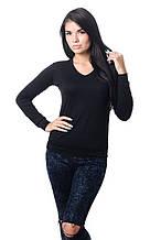 Удобная женская футболка с длинным рукавом на манжете черная