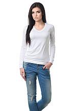 Удобная женская футболка с длинным рукавом на манжете белая