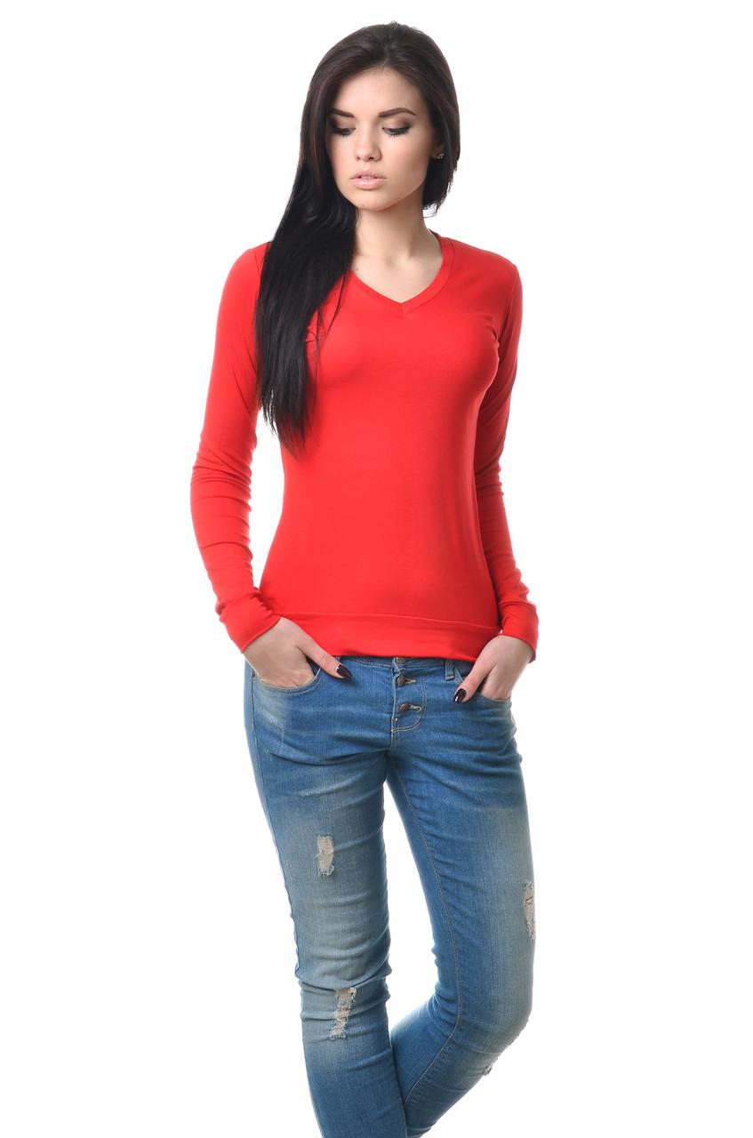 Удобная женская футболка с длинным рукавом на манжете красная