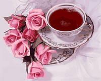 Картины по номерам 40×50 см. Чашка кофе и розы