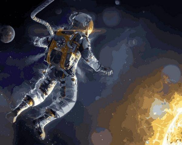 Раскраски по номерам 40×50 см. Астронавт NASA в открытом космосе