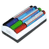 Комплект з 4 маркерів 460 і губки для магнітних дошок