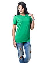 Качественная женская хлопковая футболка с короткими рукавами и круглым вырезом горловины зеленая