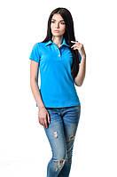 Модная женская футболка из хлопка с воротником поло голубая