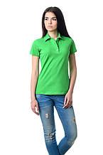 Модная женская футболка из хлопка с воротником поло салатовая РАЗМЕР S