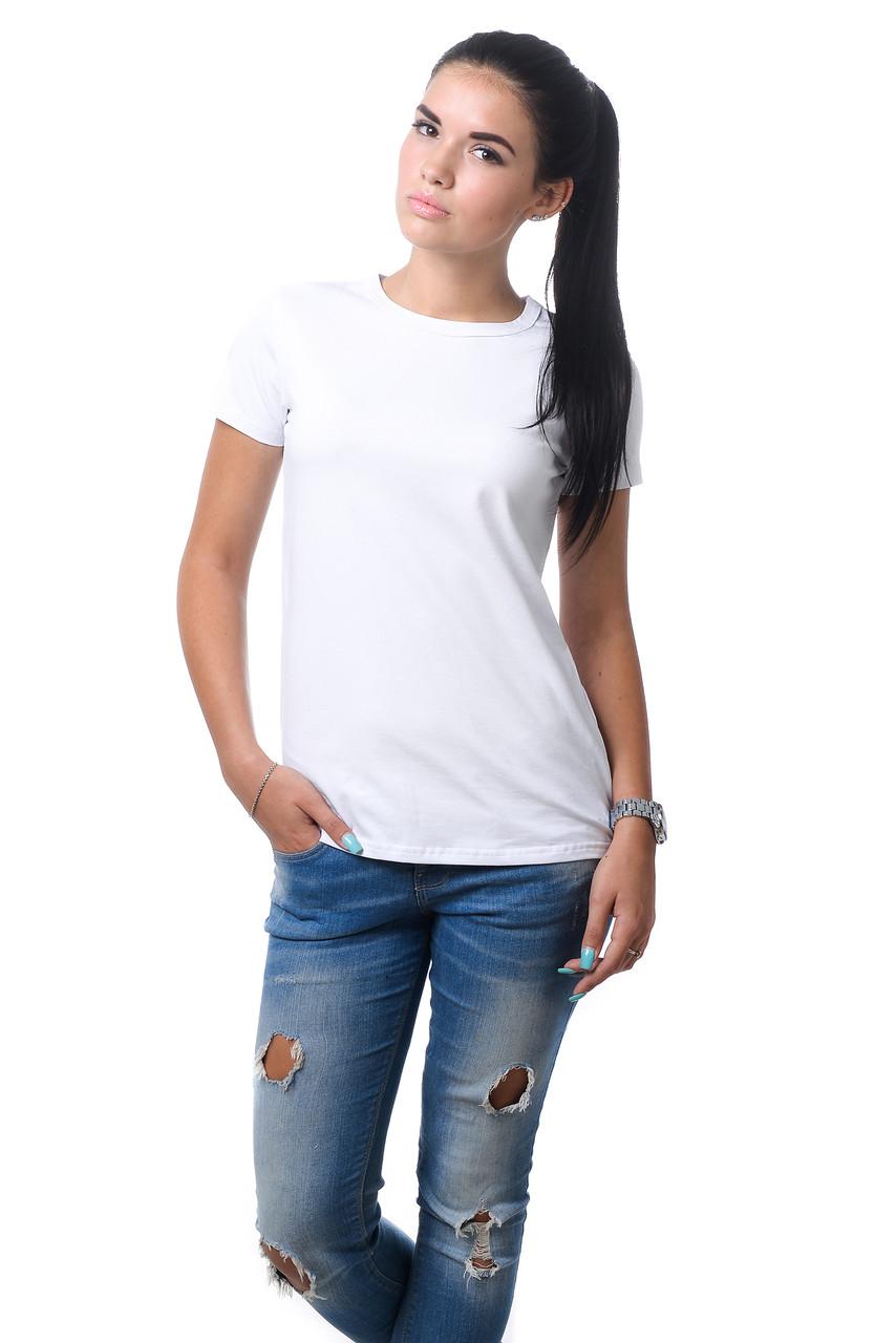 Качественная женская хлопковая футболка с короткими рукавами и круглым вырезом горловины белая