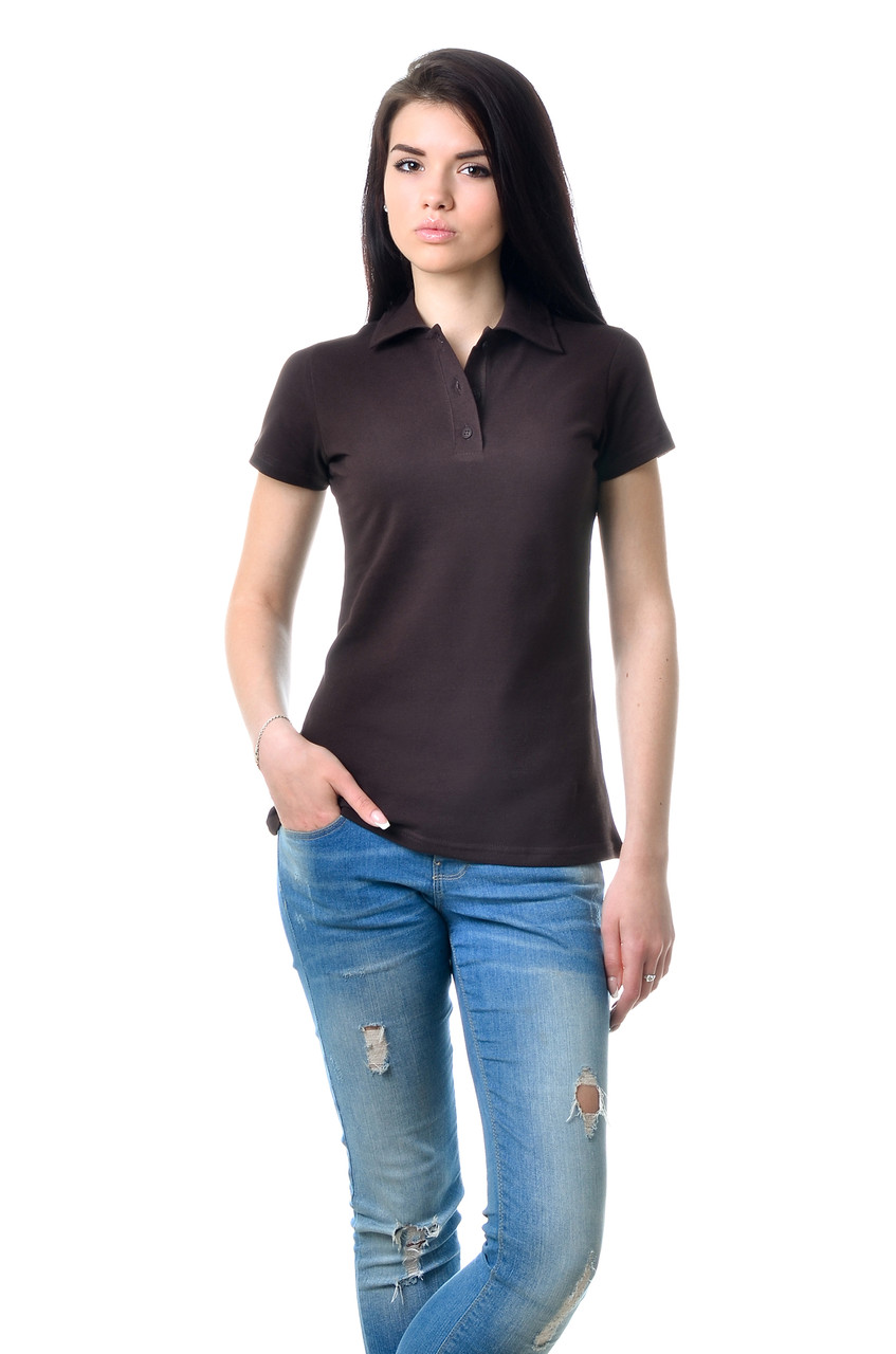 Модная женская футболка из хлопка с воротником поло коричневая